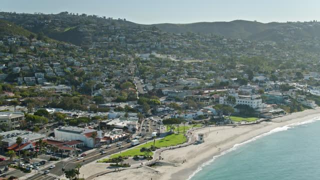 upward tilting drone shot of laguna beach, ca - laguna beach california stock videos & royalty-free footage