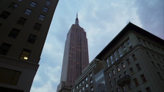 Upward view of the Empire State Building in New York City