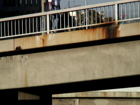 urban decay: rusting bridge / concrete cancer - rotten com stock videos and b-roll footage