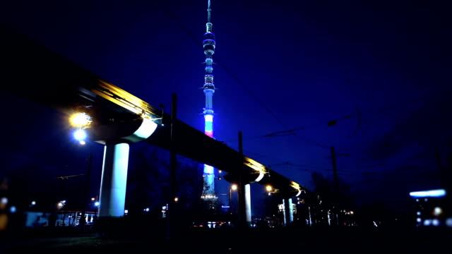 urban landkreis bei nacht - einschienenbahn stock-videos und b-roll-filmmaterial
