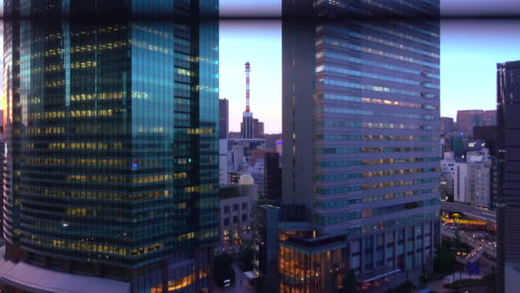 urban dusk from an elevator -4k- - moving up stock videos & royalty-free footage