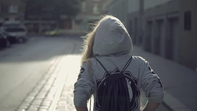 urban girl in the city - rucksack stock videos and b-roll footage