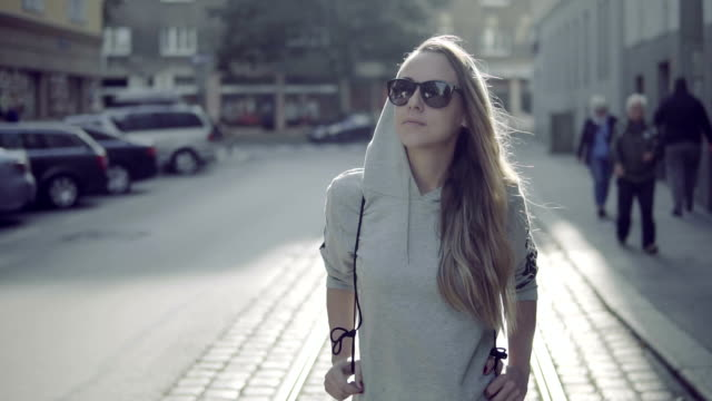 urban girl in vienna - sportswear stock videos & royalty-free footage