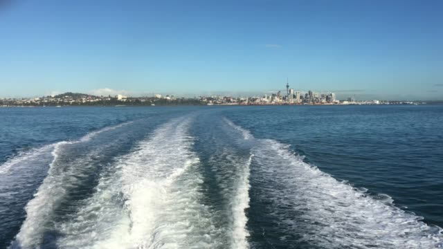 Urban Landscape of Auckland City Skyline as View from a Ferry
