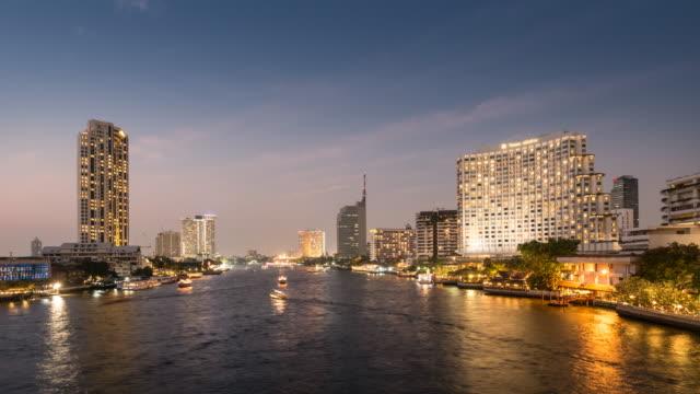 Urban landscape of Bangkok city time lapse Day to night, 4K(UHD)