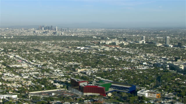urban landscape over west hollywood and the city of los angeles. - west hollywood stock-videos und b-roll-filmmaterial