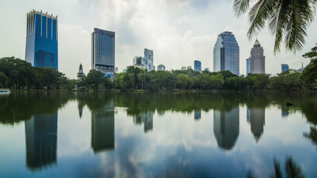 Urban landscape timelapse of the lake in Bangkok city Lumpini central park, Thailand
