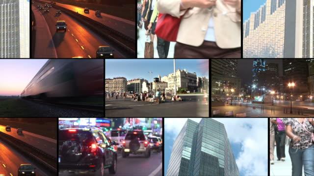 hd-montage: urbaner lifestyle - bildschirmwand stock-videos und b-roll-filmmaterial
