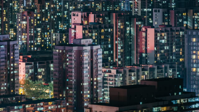 T/L WS HA TU Urban Residential Area at Night / Beijing, China