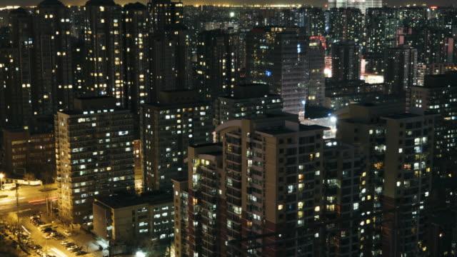 T/L TU stedelijke woonwijk nachts / Beijing, China