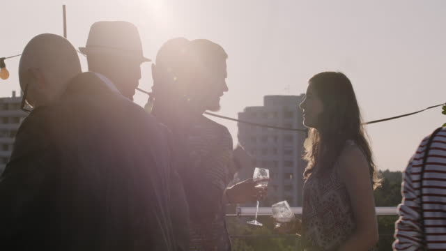 urban rooftop party - mixed race group of people talking - sunny summer day - long lens shot - vita cittadina video stock e b–roll