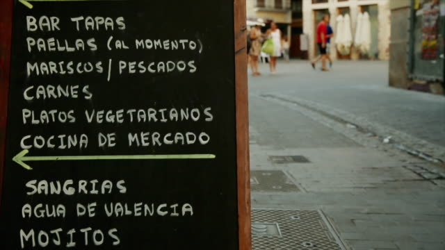 urban scene in the city of valencia, spain - tapas stock videos & royalty-free footage