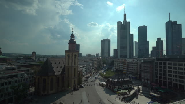 urban skyline of frankfurt am main - 4k video - famous place stock videos & royalty-free footage