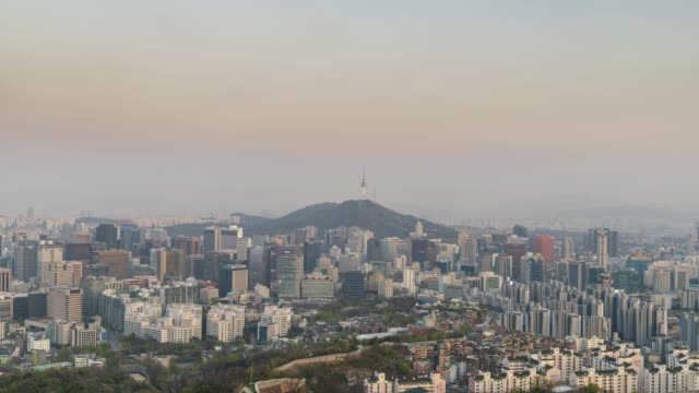 urban skyline of seoul, day to night time lapse - wide stock videos & royalty-free footage