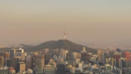Urban skyline of Seoul, day to night time lapse