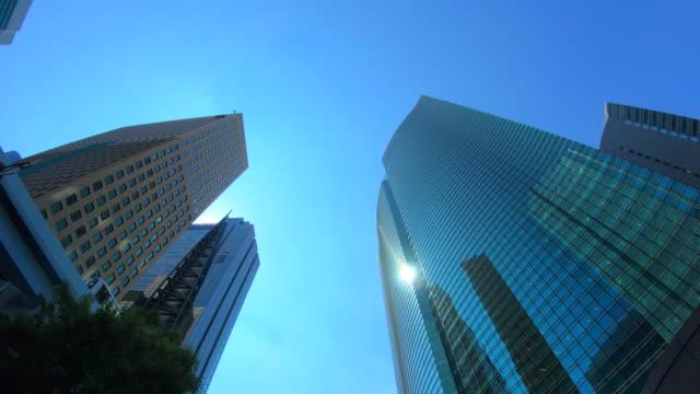 vídeos de stock e filmes b-roll de urban skyscraper from below - edifício de escritórios