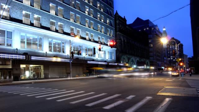 Urban street with traffic night timelapse