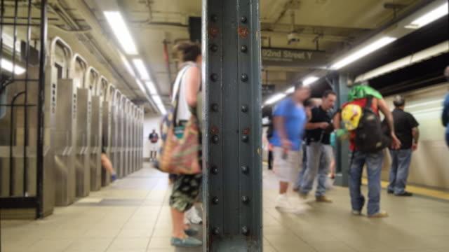 urban time lapse  4k - underground station platform stock videos & royalty-free footage