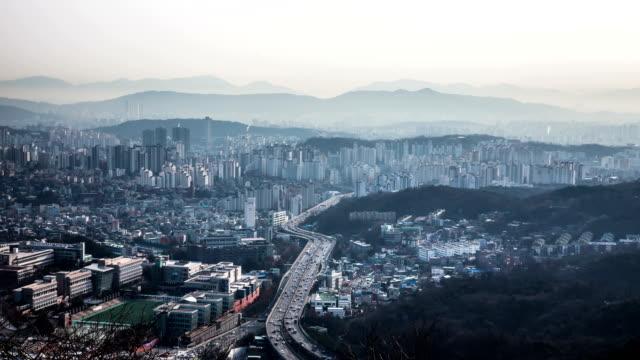 vidéos et rushes de urban traffic flow / seoul, south korea - plaque de rue