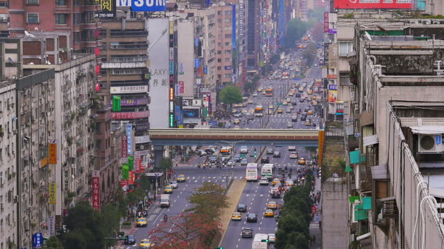 urban traffic in taipei city, taiwan - taipei stock videos & royalty-free footage