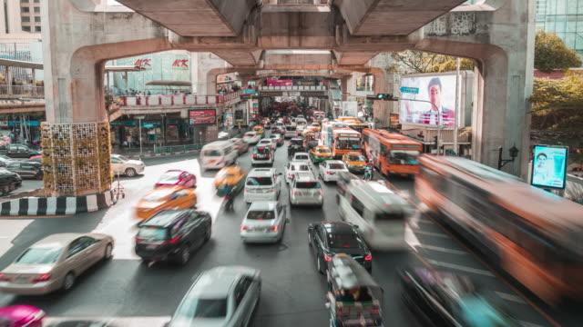 Stadsverkeer Jam In Bangkok, Timelapse