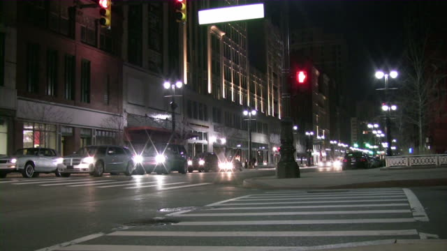 urban view. city, road, downtown, cars. time lapse. - detroit michigan stock videos & royalty-free footage