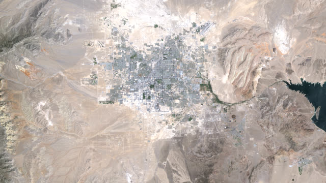 Urbanisation, Las Vegas, 1984-2009. This series of Landsat satellite images shows the growth of the urban area of Las Vegas, Nevada, USA, over a 25-year period