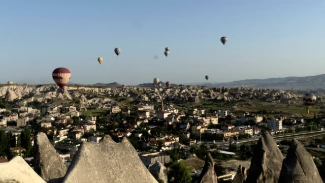 urgüp and flying balloons - ottoman stock videos & royalty-free footage