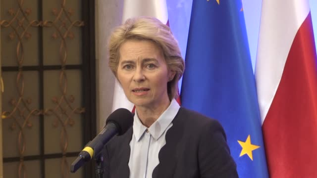 stockvideo's en b-roll-footage met ursula von der leyen president elect of the european commission says the european union plans to launch a special fund to wean members off fossil... - minister president