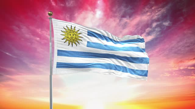 uruguaian flag, loopable, included green screen chroma key version, waving in wind slow motion animation, 4k realistic fabric texture, continuous seamless loop background - uruguaian flag stock videos & royalty-free footage