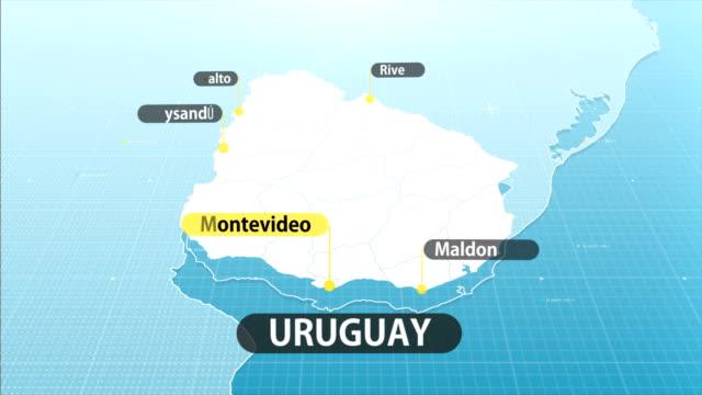 uruguaian map - uruguaian flag stock videos & royalty-free footage