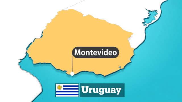 uruguaian map with flag - uruguaian flag stock videos & royalty-free footage