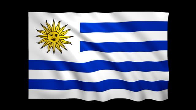 uruguay flagge endlos wiederholbar alpha enthalten - stock video - satin stock-videos und b-roll-filmmaterial
