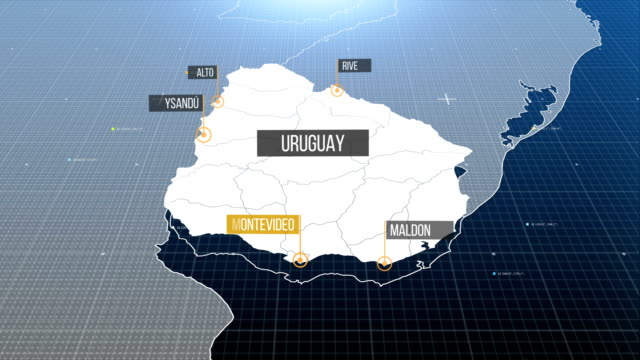uruguay map - uruguay video stock e b–roll