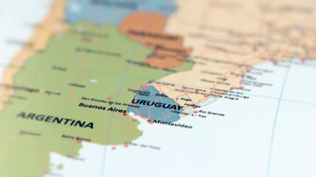 south america uruguay on world map - uruguay stock videos & royalty-free footage