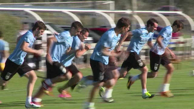 uruguay will face ecuador on friday during the penultimate round of qualifications for the 2014 world cup in brazil clean uruguay trains ahead of... - world cup qualifying round stock videos and b-roll footage