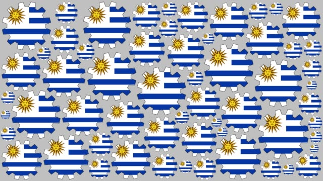 uruguayan flag gears spinning background - uruguaian flag stock videos & royalty-free footage