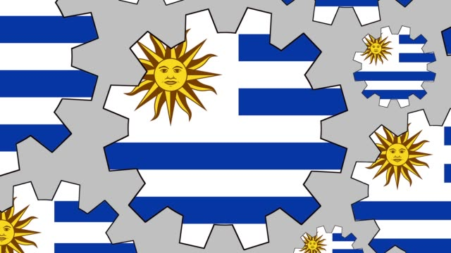 uruguayan flag gears spinning background zooming out - uruguaian flag stock videos & royalty-free footage