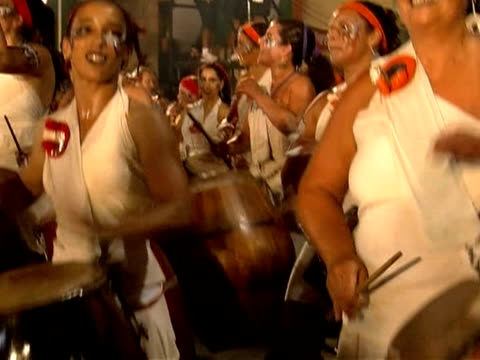 vídeos de stock, filmes e b-roll de uruguay's candombe a drumming tradition rooted on african rhythms was recognised as a cultural heritage by unesco this year montevideo uruguay - montevidéu