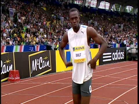 Usain Bolt at starting blocks for Men's 200m Final Aviva Grand Prix Crystal Palace