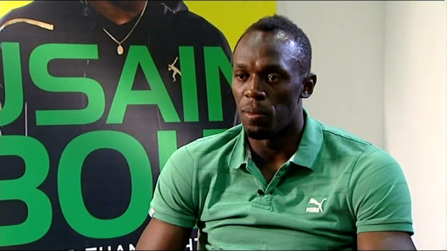 usain bolt autobiography; usain bolt interview sot - would be a dream come true for me, have been supporting manchester united since i started... - biografia video stock e b–roll