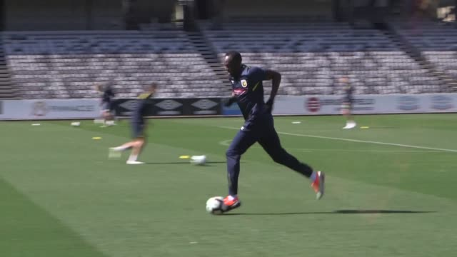 usain bolt takes the first tentative steps towards his manchester united dream after the sprint king joins australian side central coast mariners for... - bolt stock videos & royalty-free footage