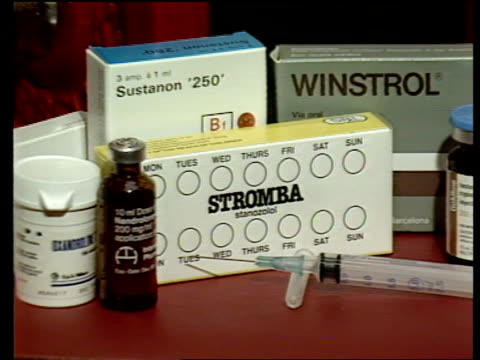 use and abuse of steroids in medicine and sport; england: london: int tcms anabolic steroids zoom in packet of 'stromba' cms dr david cowan intvw sof... - sachet stock videos & royalty-free footage