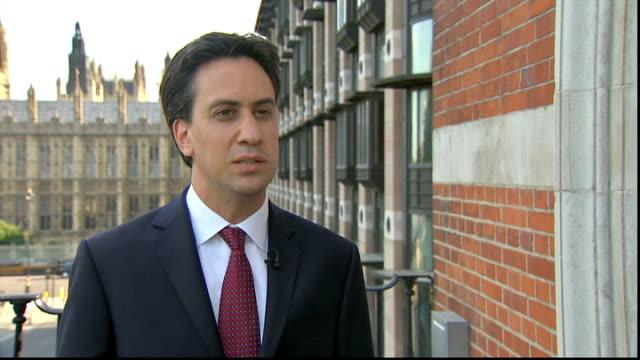 david cameron makes case for military strikes ed miliband mp interview sot - 武力攻撃点の映像素材/bロール