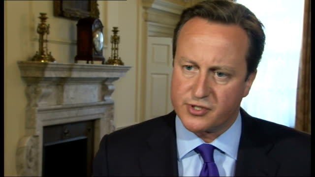 david cameron makes case for military strikes england london downing street david cameron interview sot the question we have to ask ourselves is if... - 武力攻撃点の映像素材/bロール