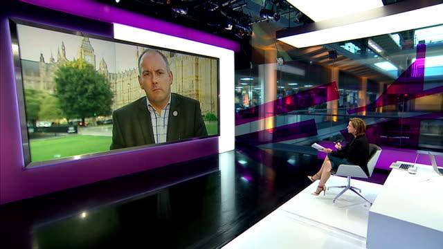 david cameron makes case for military strikes england london gir int robert halfon mp live studio interview from westminster sot - 武力攻撃点の映像素材/bロール