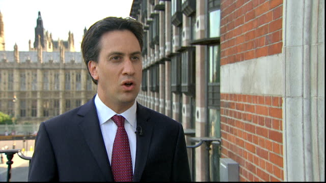 david cameron makes case for military strikes ext ed miliband mp interview sot we the labour party would consider supporting international action but... - 武力攻撃点の映像素材/bロール