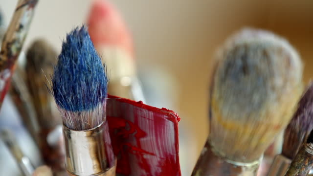 Used and dried paint brush