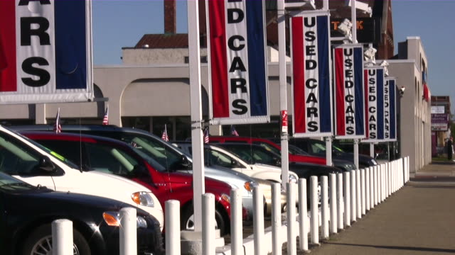 used cars. car dealership - car showroom stock videos & royalty-free footage