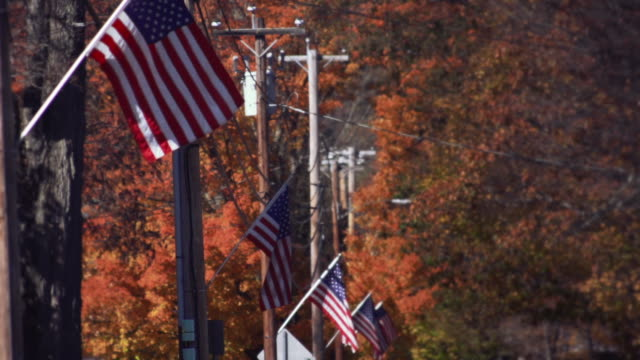 US-Flags in suburban town in Connecticut, USA